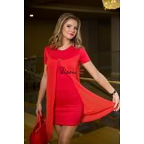 Платье коралловое 7458